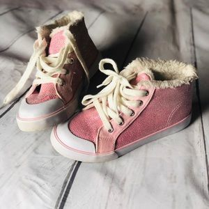 Girls pink high top sparkly shoes